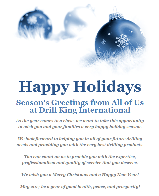 Happy Holidays from Drill King International